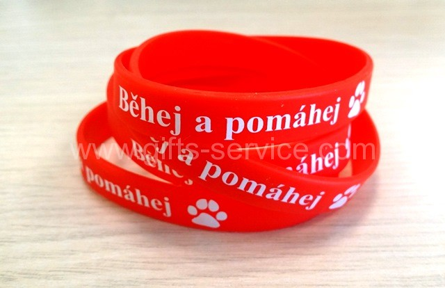 shiny red silicone wristbands with printing