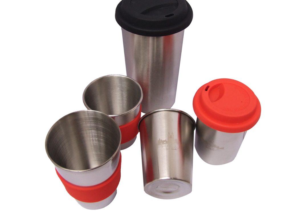 nerezové vratné eco pohárky a kelímky z ocele pro teplé i studené nápoje vhodné pro trhy, festivaly a stánkový prodej