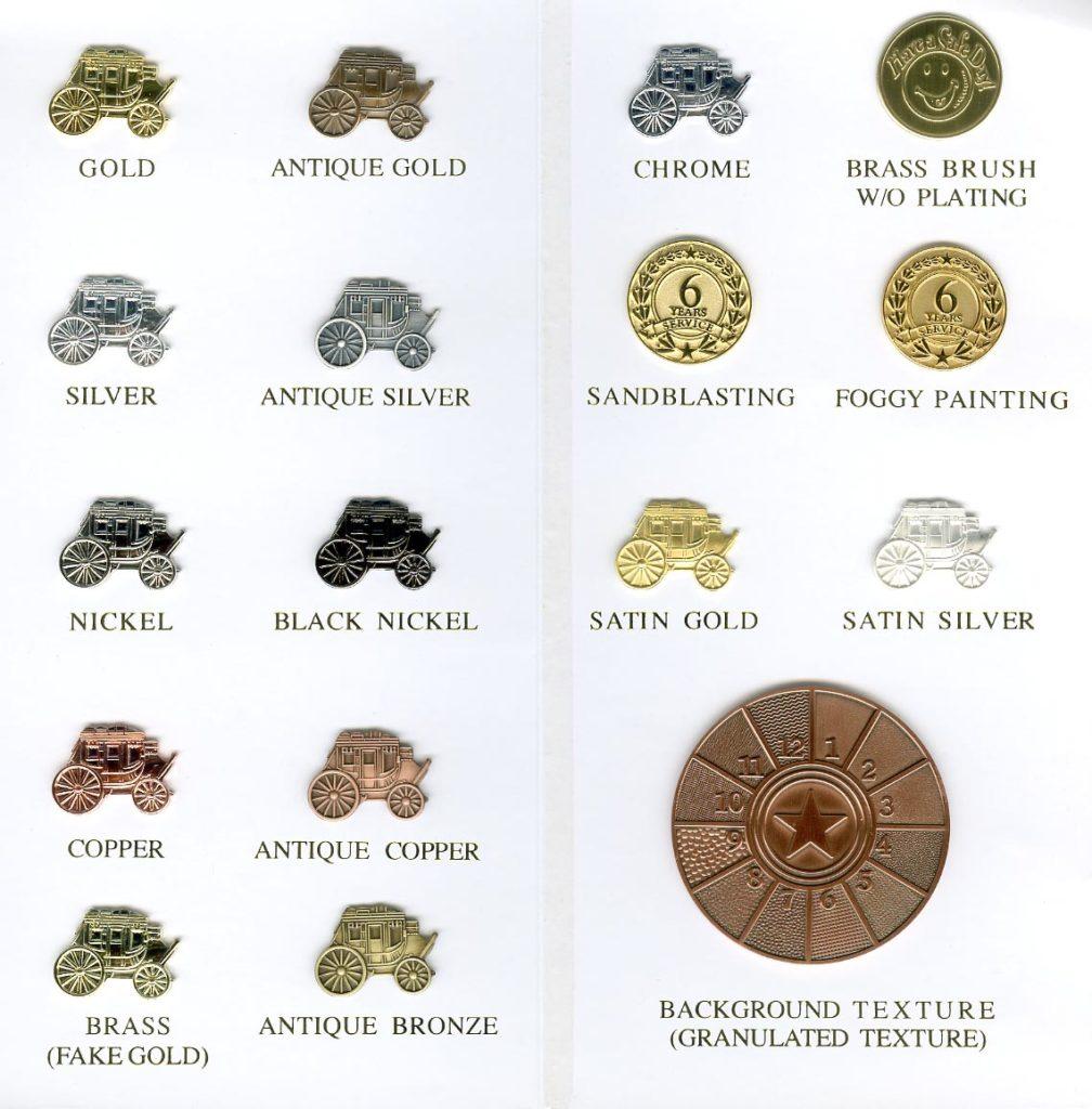 tabulka povrchový úprav pro zakázkovou výrobu odznaků
