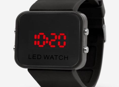 Gumové hodinky - LED